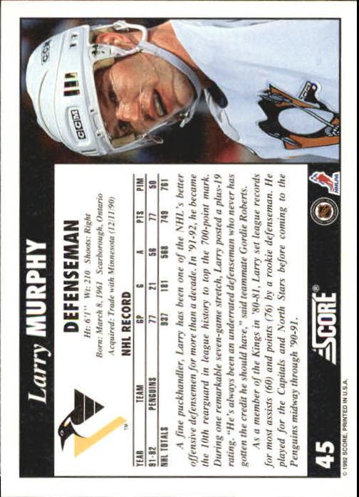 1992-93 Score #45 Larry Murphy back image