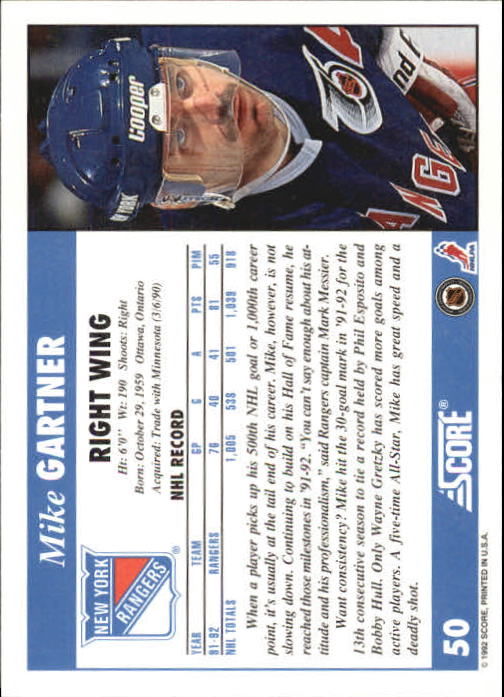 1992-93 Score #50 Mike Gartner back image