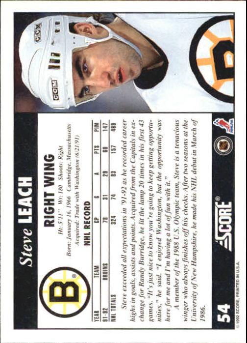 1992-93 Score #54 Steve Leach back image