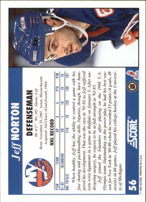 1992-93 Score #56 Jeff Norton back image