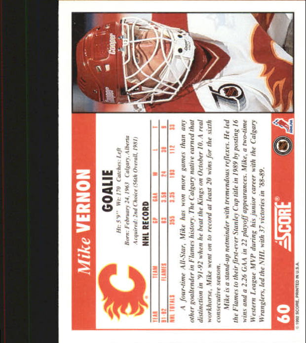 1992-93 Score #60 Mike Vernon back image
