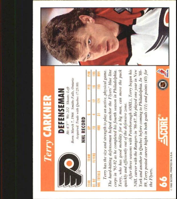 1992-93 Score #66 Terry Carkner back image