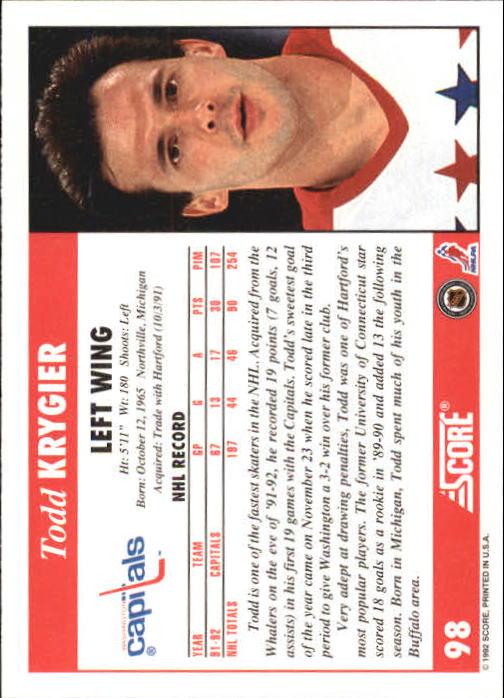 1992-93 Score #98 Todd Krygier back image