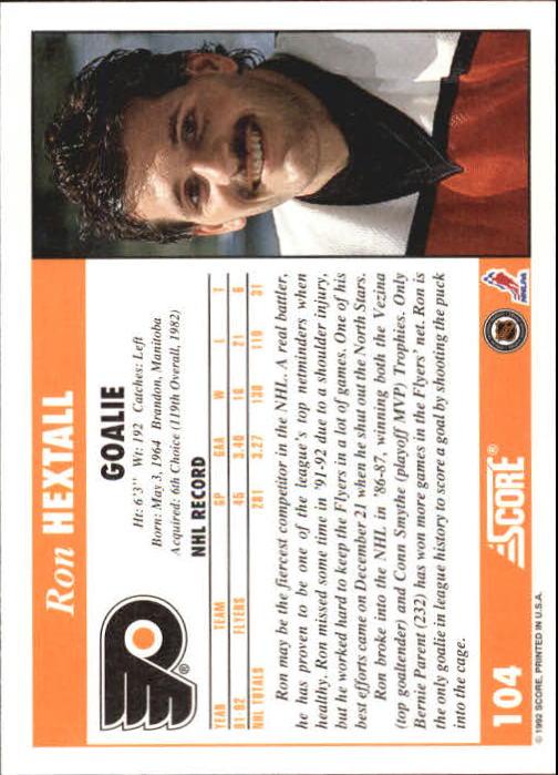 1992-93 Score #104 Ron Hextall back image