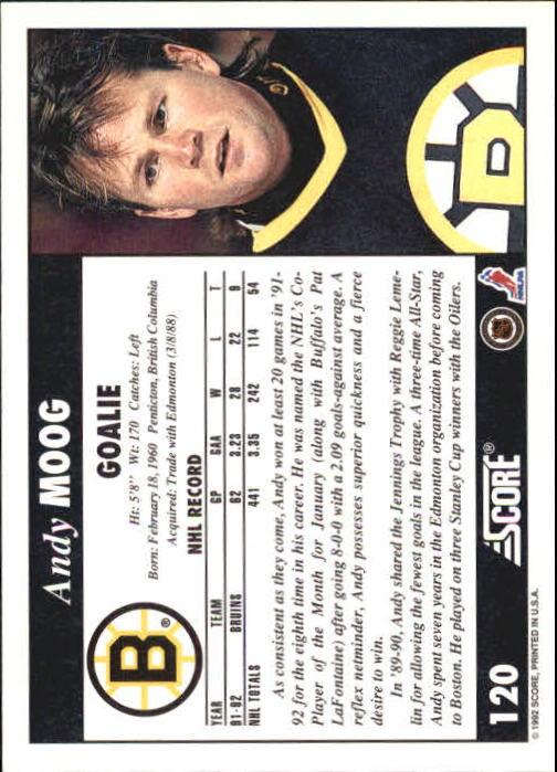1992-93 Score #120 Andy Moog back image