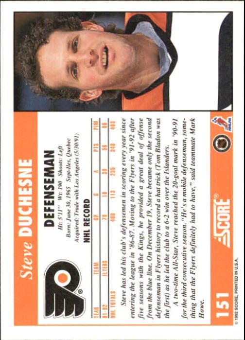 1992-93 Score #151 Steve Duchesne back image