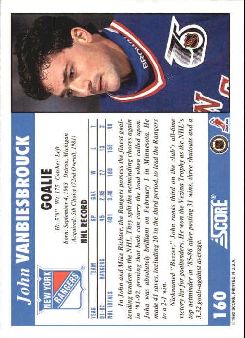 1992-93 Score #160 John Vanbiesbrouck back image