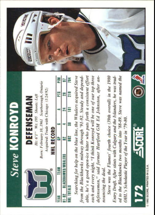 1992-93 Score #172 Steve Konroyd back image