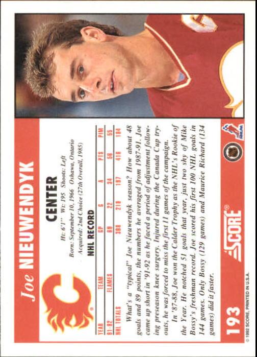 1992-93 Score #193 Joe Nieuwendyk back image