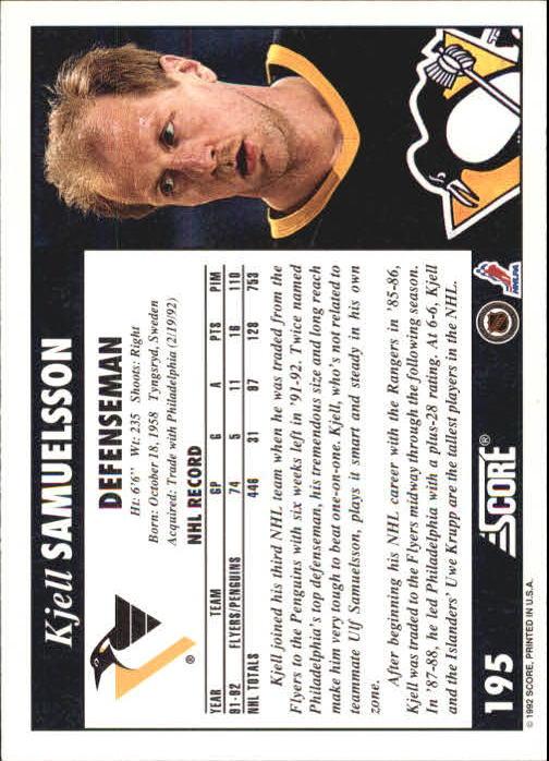 1992-93 Score #195 Kjell Samuelsson back image