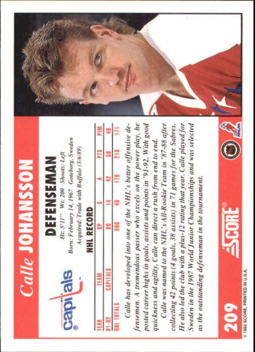 1992-93 Score #209 Calle Johansson back image