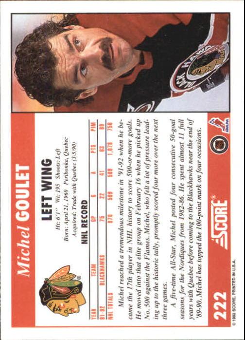 1992-93 Score #222 Michel Goulet back image