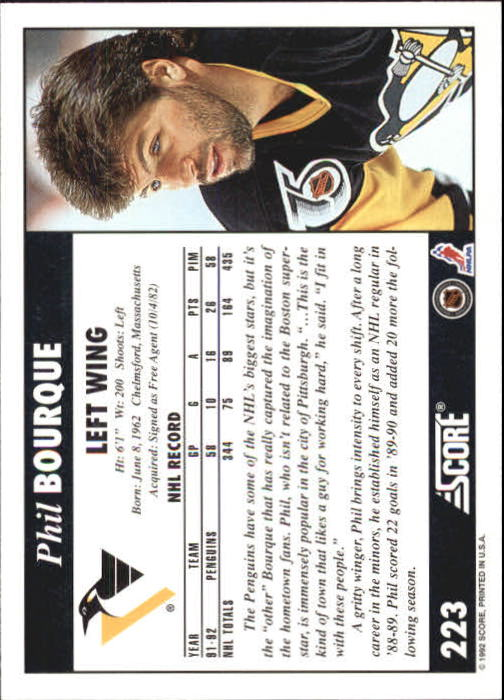 1992-93 Score #223 Phil Bourque back image