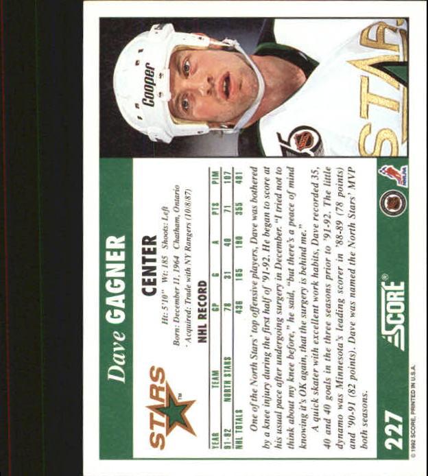 1992-93 Score #227 Dave Gagner back image