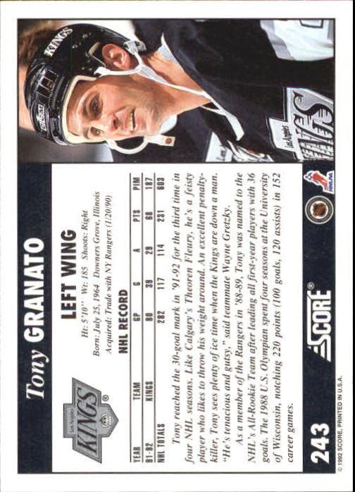 1992-93 Score #243 Tony Granato back image