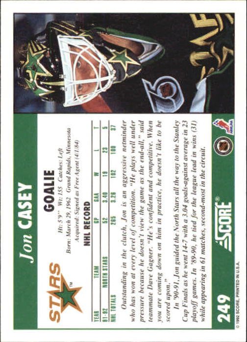 1992-93 Score #249 Jon Casey back image
