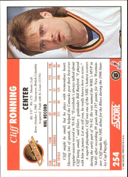 1992-93 Score #254 Cliff Ronning back image