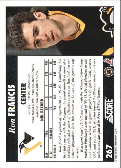 1992-93 Score #267 Ron Francis back image