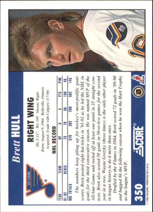 1992-93 Score #350 Brett Hull back image