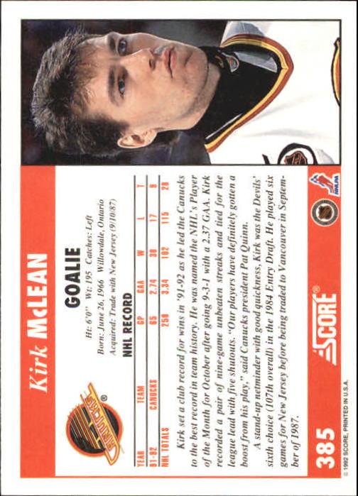 1992-93 Score #385 Kirk McLean back image