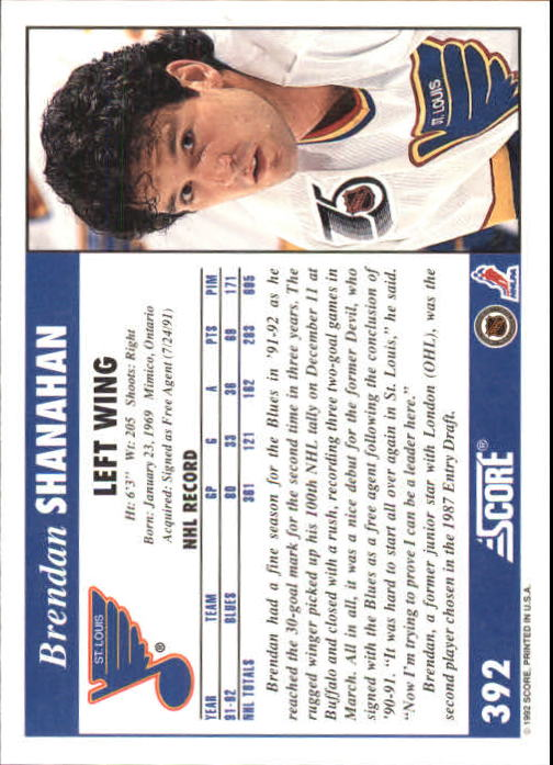 1992-93 Score #392 Brendan Shanahan back image