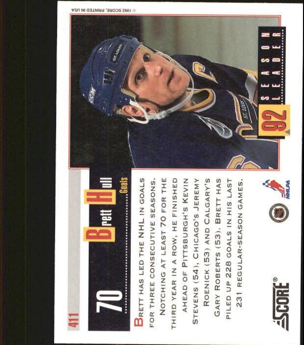 1992-93 Score #411 Brett Hull SL back image