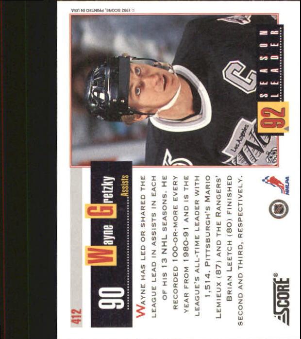 1992-93 Score #412 Wayne Gretzky SL back image