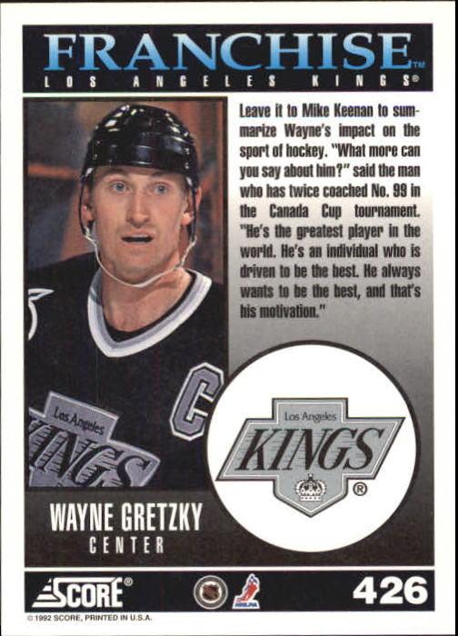 1992-93 Score #426 Wayne Gretzky FP back image