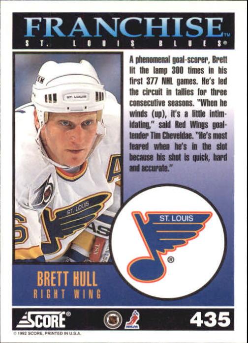 1992-93 Score #435 Brett Hull FP back image