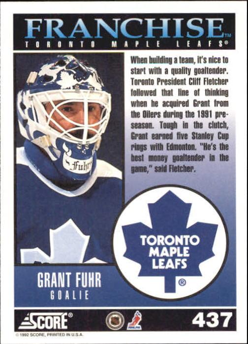 1992-93 Score #437 Grant Fuhr FP back image