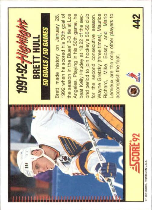 1992-93 Score #442 Brett Hull HL back image