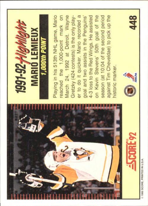 1992-93 Score #448 Mario Lemieux HL back image