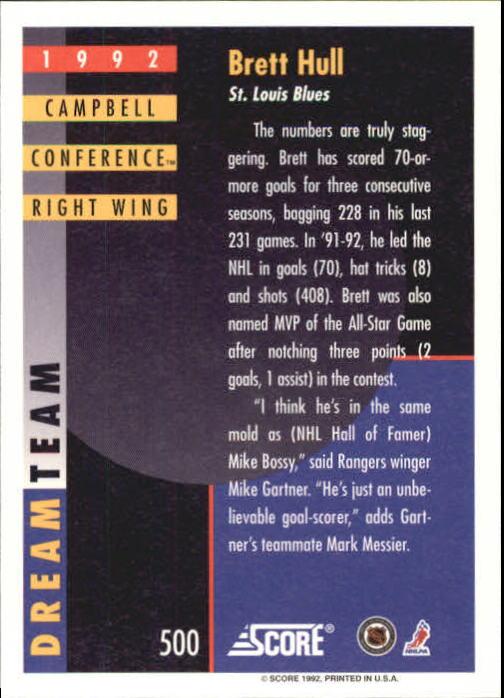1992-93 Score #500 Brett Hull DT back image