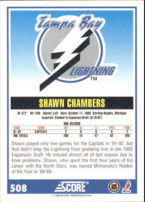 1992-93 Score #508 Shawn Chambers back image