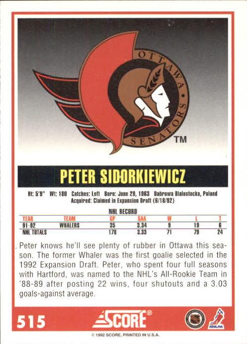 1992-93 Score #515 Peter Sidorkiewicz back image