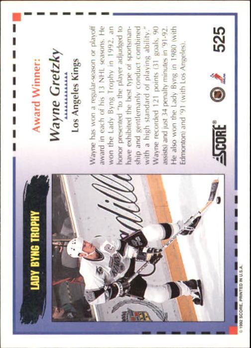 1992-93 Score #525 Wayne Gretzky AW back image