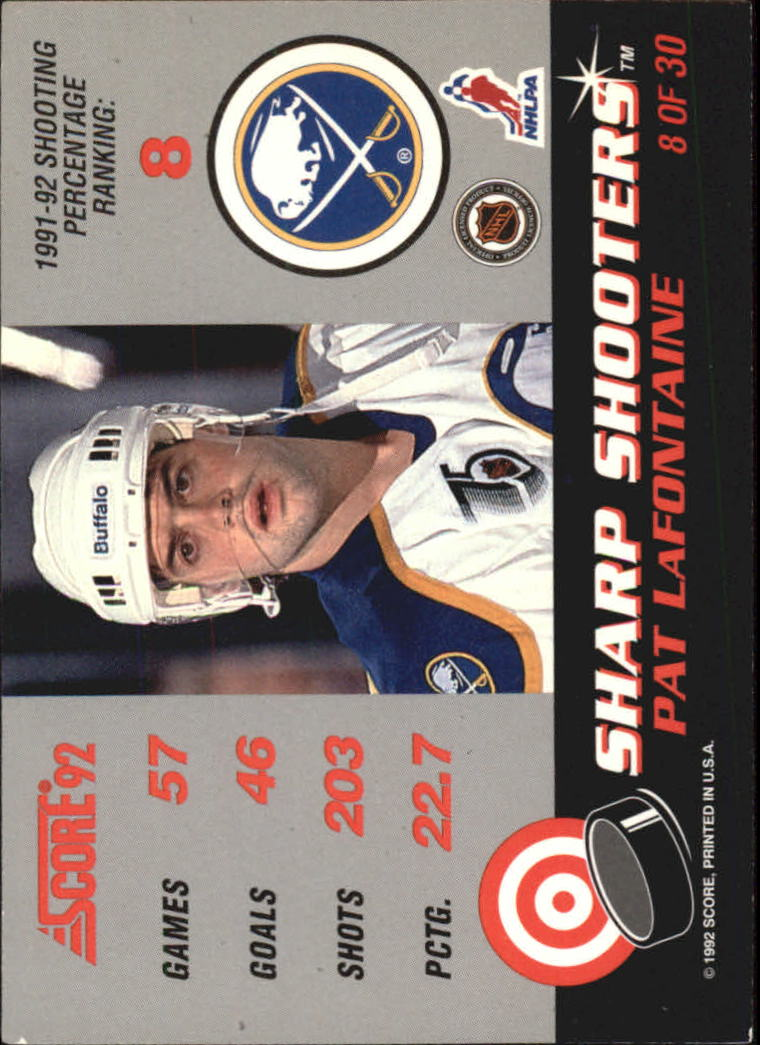 1992-93 Score Sharp Shooters #8 Pat LaFontaine back image