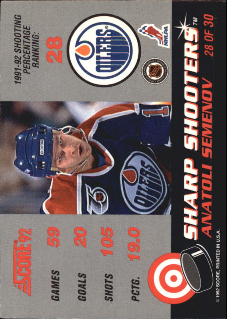 1992-93 Score Sharp Shooters #28 Anatoli Semenov back image