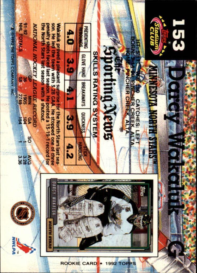 1992-93 Stadium Club #153 Darcy Wakaluk back image