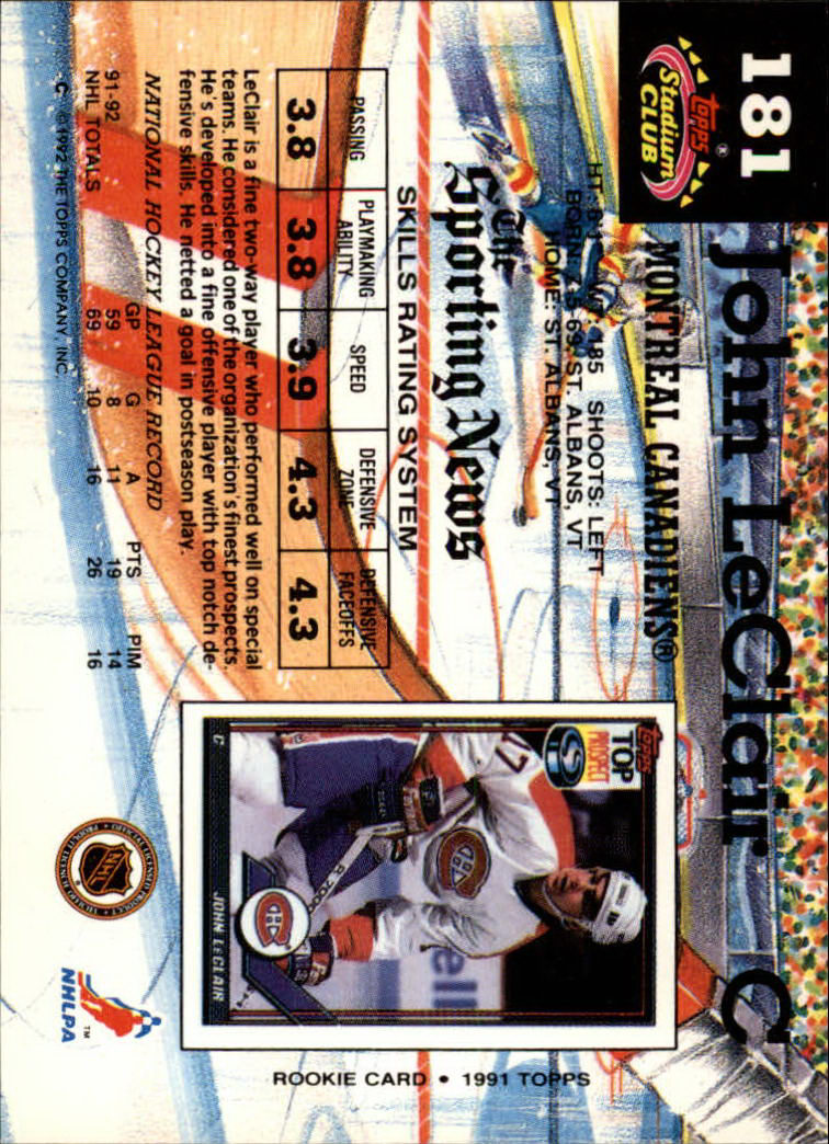 1992-93 Stadium Club #181 John LeClair back image