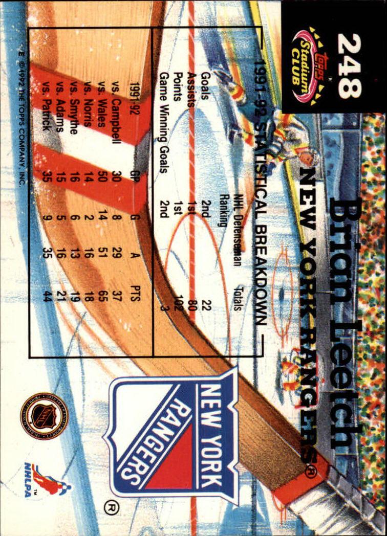 1992-93 Stadium Club #248 Brian Leetch MC back image