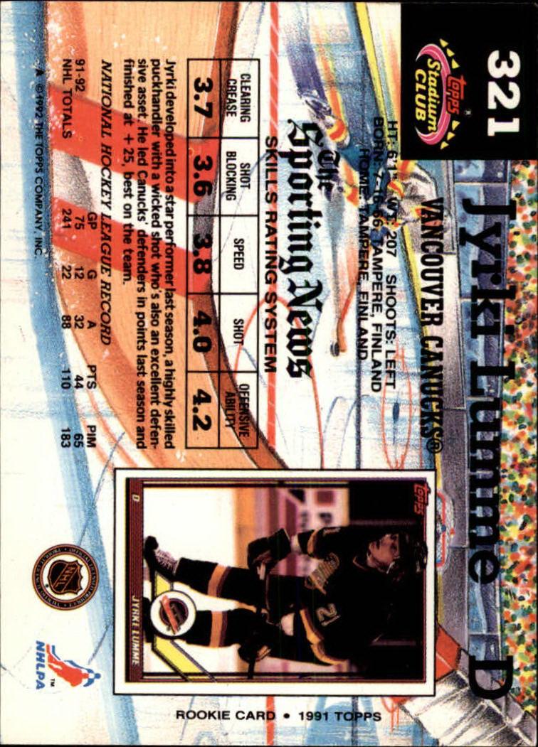 1992-93 Stadium Club #321 Jyrki Lumme back image