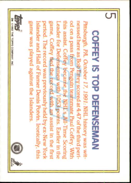 1992-93 Topps #5 Paul Coffey HL back image