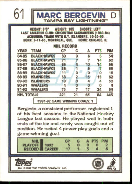 1992-93 Topps #61 Marc Bergevin back image