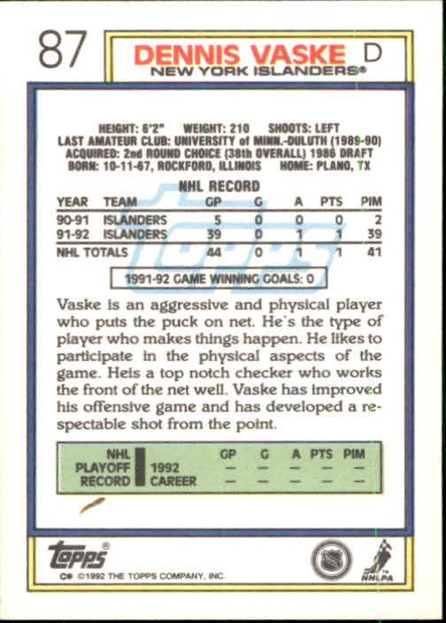 1992-93 Topps #87 Dennis Vaske back image