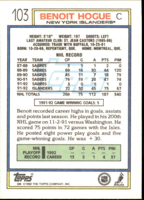 1992-93 Topps #103 Benoit Hogue back image