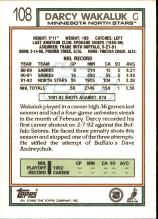 1992-93 Topps #108 Darcy Wakaluk back image