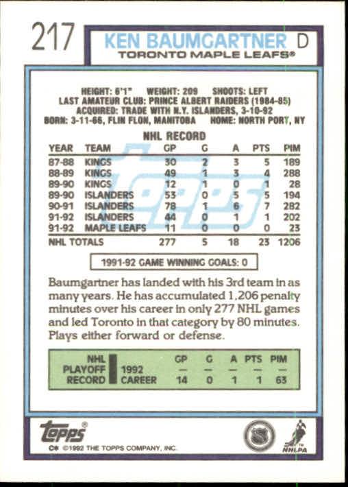 1992-93 Topps #217 Ken Baumgartner back image