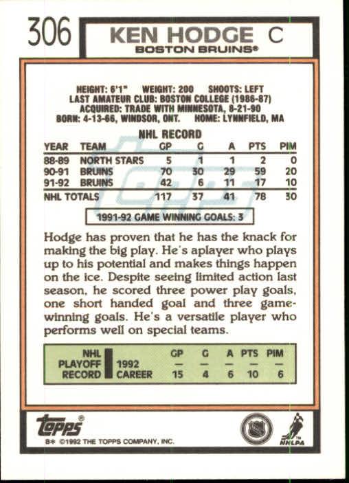 1992-93 Topps #306 Ken Hodge Jr. back image