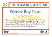 1992-93 Topps Gold #263 Patrick Roy AS back image